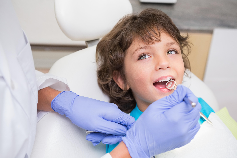 Pediatric dentist examining a little boys teeth